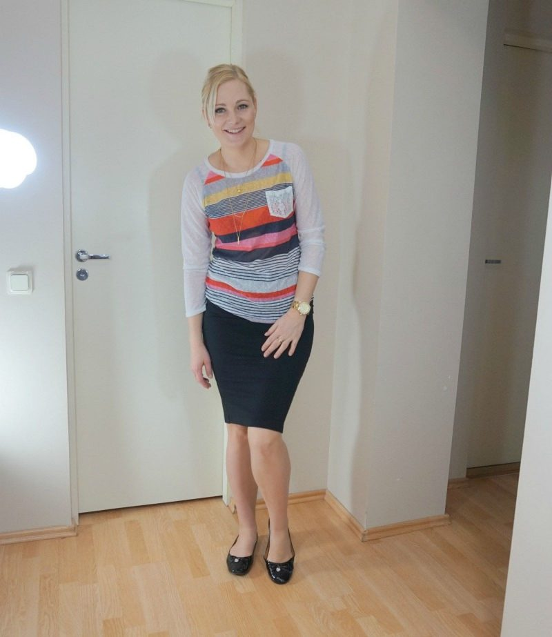striped top and black pencil skirt
