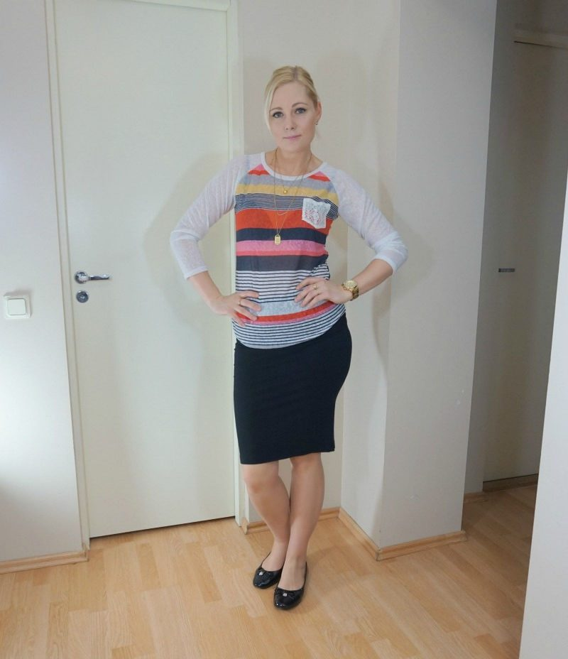 striped top black pencil skirt