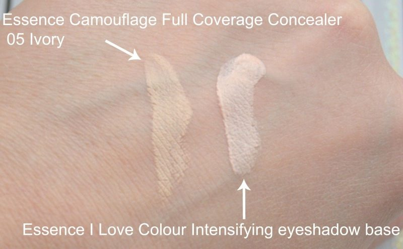 Essence Camouflage Full Coverage Concealer in 05 Ivory swatch. Essence I Love Colour Intensifying eyeshadow base swatch