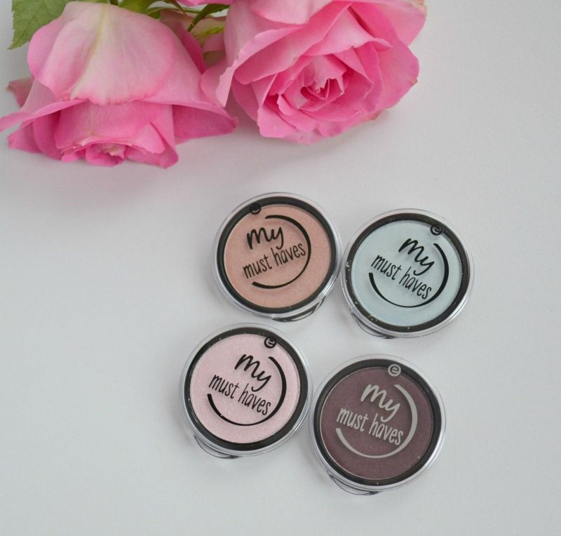 Essence My Must Haves palette refill eyeshadows 08 peach-party!, 12 want a mint, 05 cotton candy and 18 black as a berry