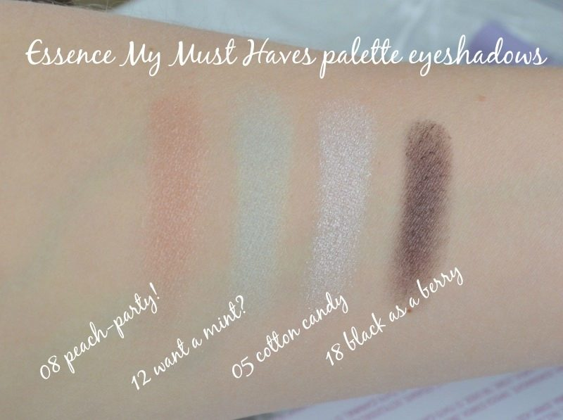 Essence My Must Haves palette eyeshadows 08 peach-party!, 12 want a mint, 05 cotton candy and 18 black as a berry swatches