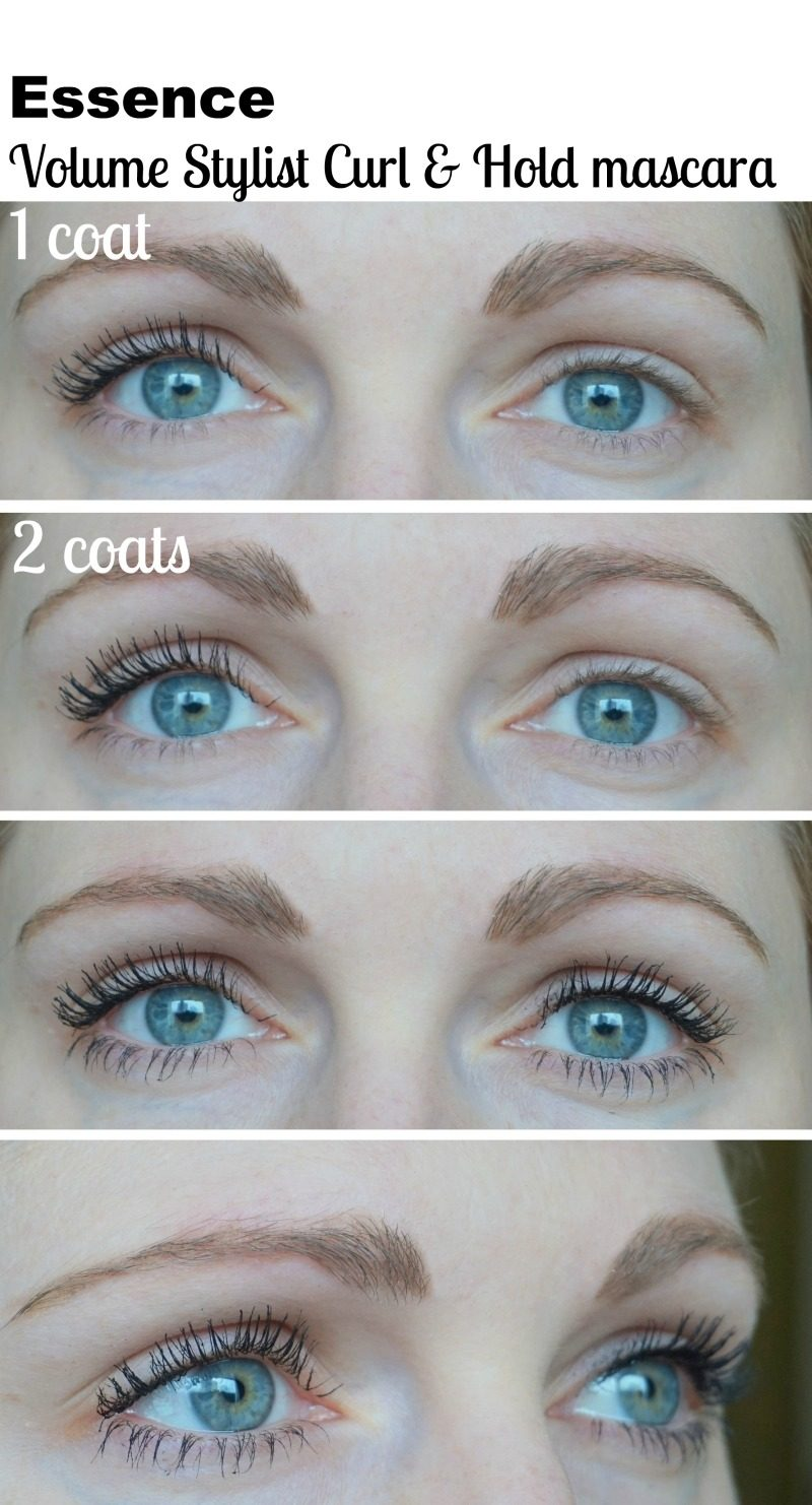 Essence Volume Stylist Curl & Hold mascara before after