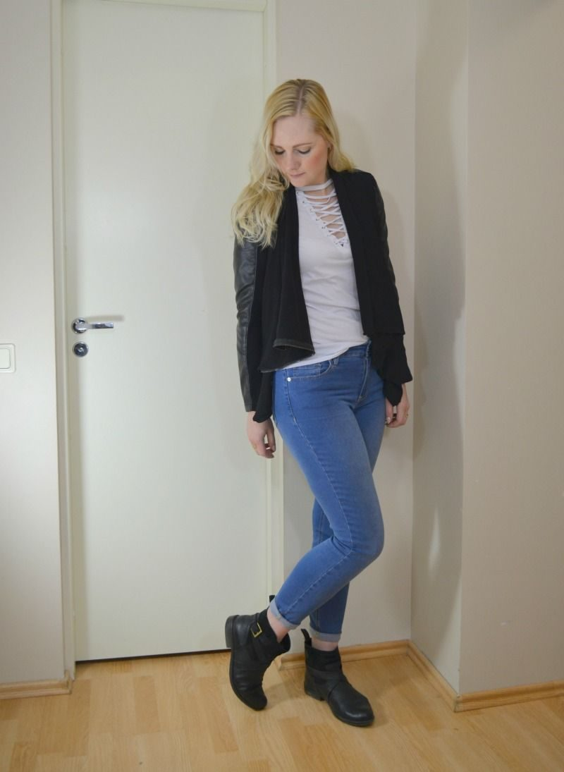 Glamorous lace up tee, Guess skinny jeans, Blank Denim Vegan Leather & Ponte Jacket, Clarks Merryn Trail ankle boots