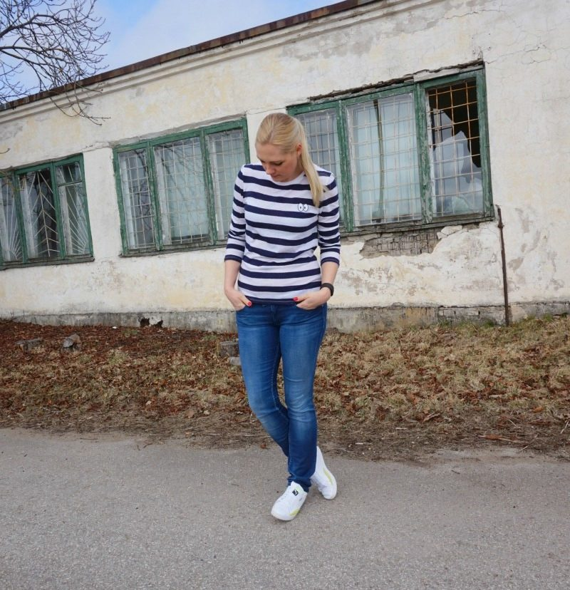 Zoe Karssen Cartoon Eyes Striped Long Sleeve Tee, Tommy Hilfiger Vicky jeans, Puma Match Lo Basic Sports Sneakers, Fitbit Charge HR
