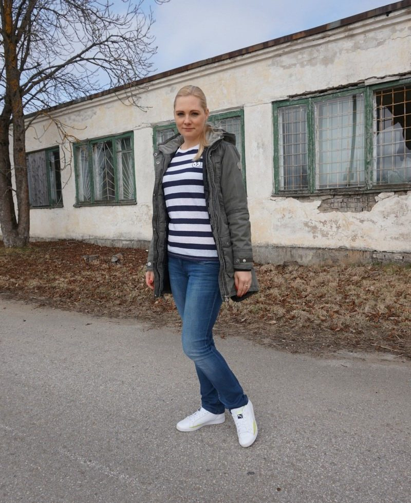 Zoe Karssen Cartoon Eyes Striped Long Sleeve Tee, Tommy Hilfiger Vicky jeans, Puma Match Lo Basic Sports Sneakers, Five Seasons Margot parka, Fitbit Charge HR