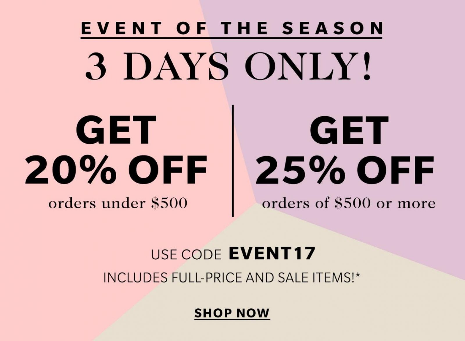 Shopbop SALE – save up to 25% on your order!