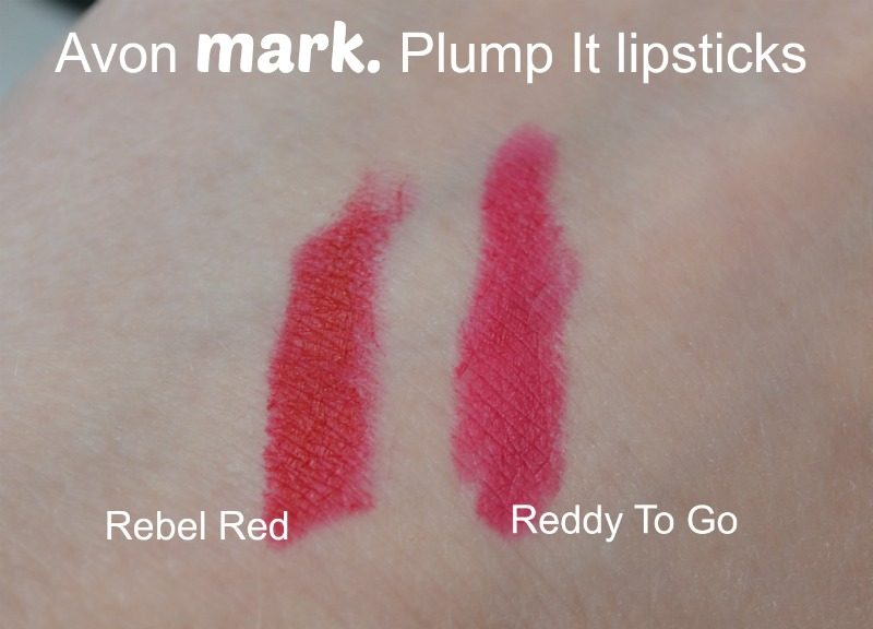 Avon Mark. Plump It lipstick - Rebel Red & Reddy To Go swatches