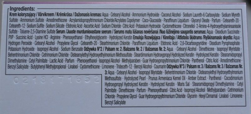 Schwarzkopf Color Expert Omegaplex hair dye 10.1 ingredients