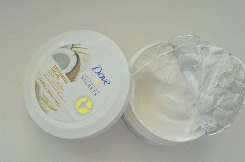 Dove Nourishing Secrets Restoring Ritual Body Cream with coconut oil and almond milk review