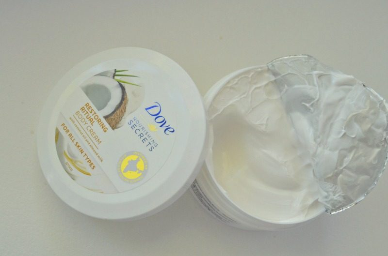 Dove Nourishing Secrets Restoring Ritual Body Cream with coconut oil and almond milk review