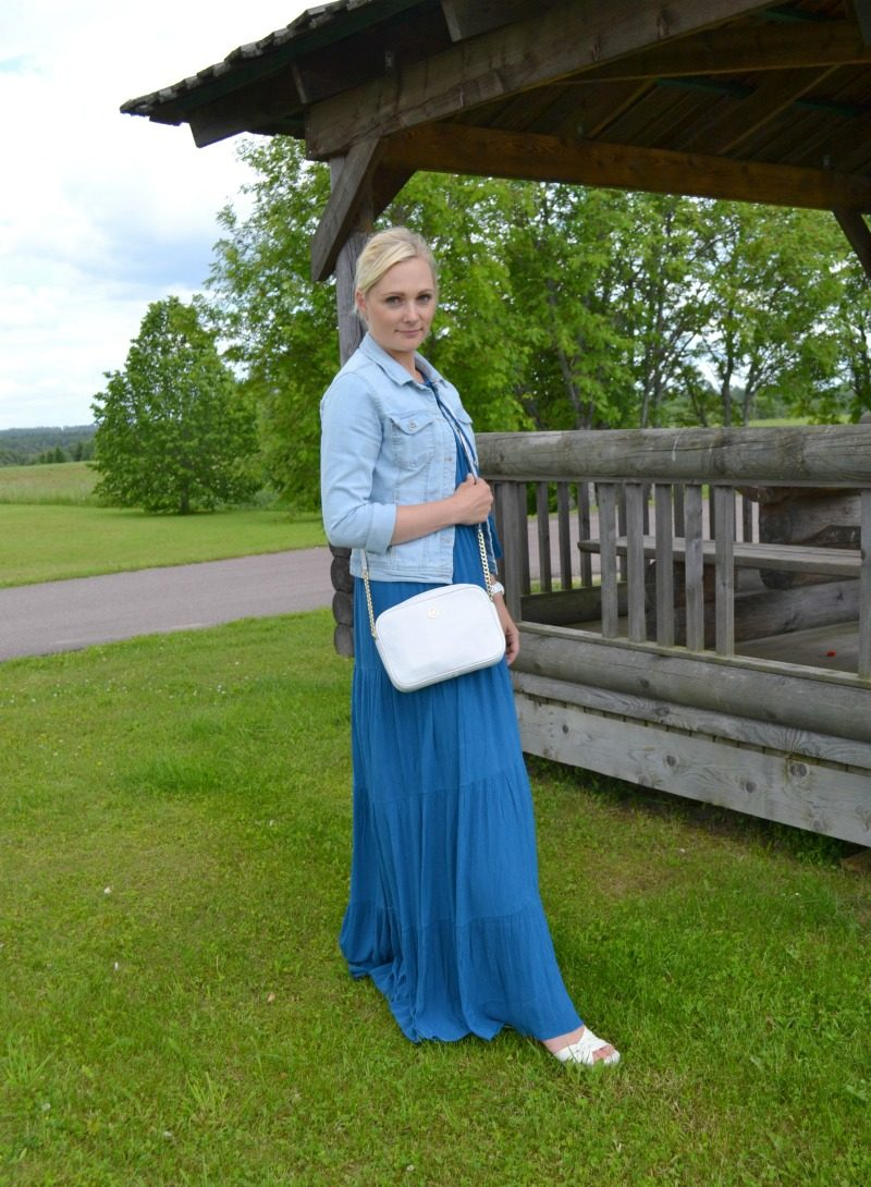 Ella Moss Miko maxi dress, Only denim jacket, Geox wedges, Michael Kors watch and crossbody bag