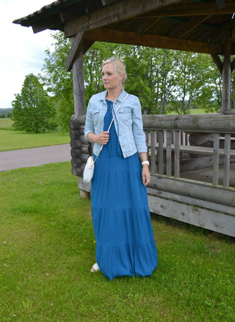 Ella Moss maxi dress, Only denim jacket, Geox wedges, Michael Kors watch and crossbody bag