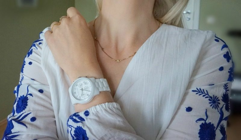 Pampelone 55 blouse, Madewell necklace, Michael Kors watch