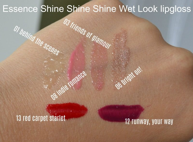 essence shine shine shine wet look lip gloss 01 behind the scenes, 08 indie romance, 03 friends of glamour, 06 bright on!, 13 red carpet starlet & 12 runway, your way swatches