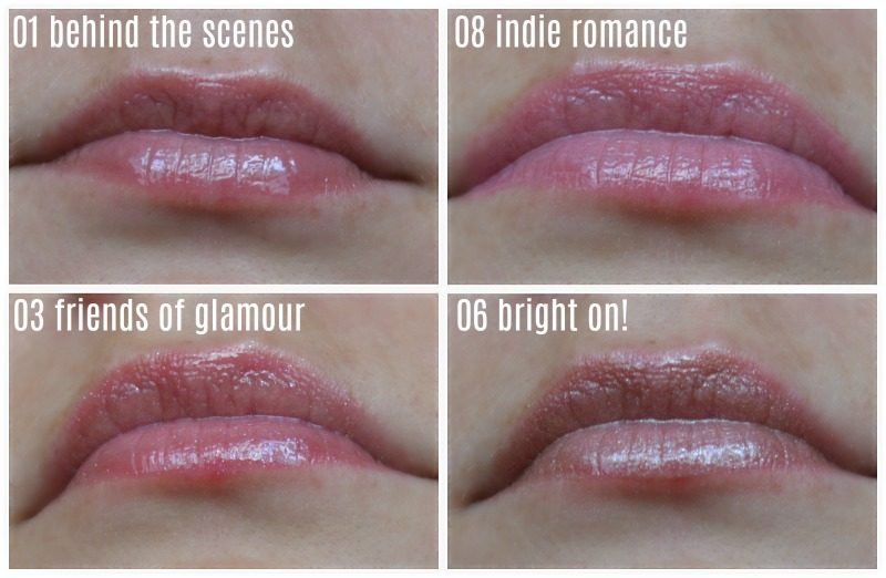 essence shine shine shine wet look lip glosses 01 behind the scenes, 08 indie romance, 03 friends of glamour, 06 bright on! lip swatches