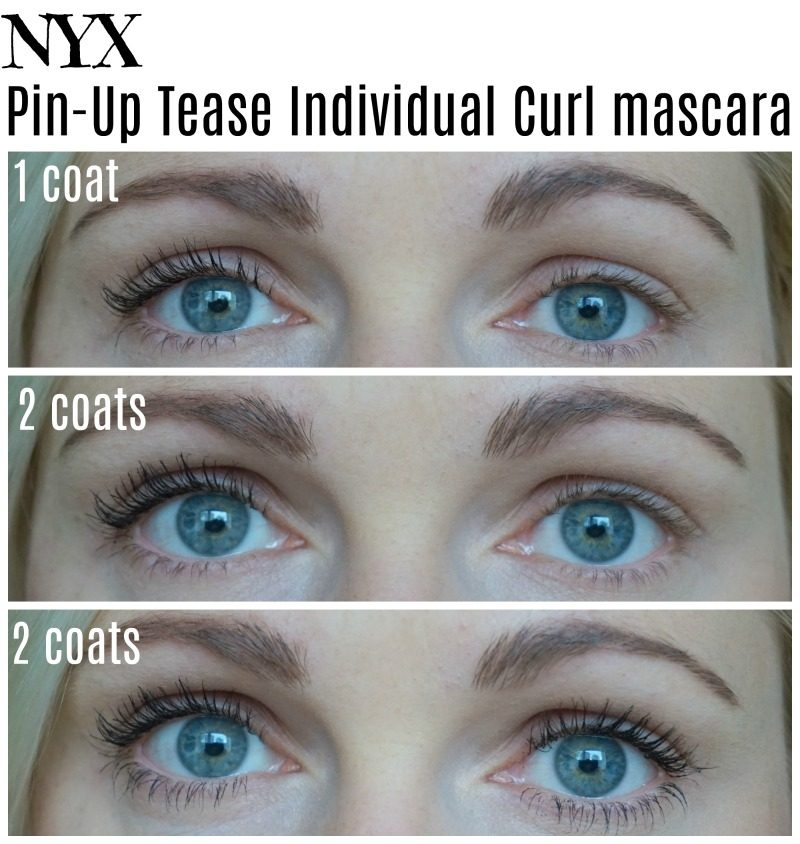 NYX Pin-Up Tease Individual Curl mascara on my lashes