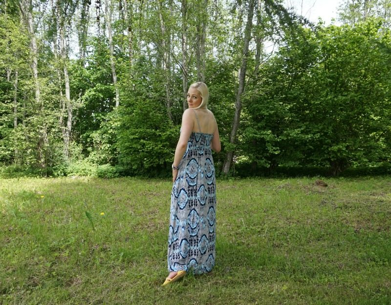 yellow lace-up flats and Only maxi dress