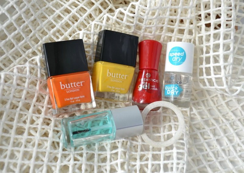 Butter London Pimms and Silly Billy, Essence The Gel Nail Polish in 16 Fame Fatal, Reverence de Bastien base coat, Essence Quick Dry top coat