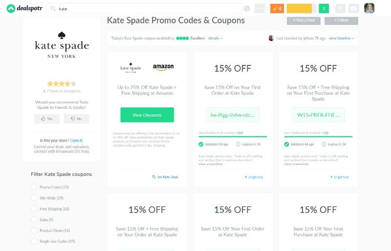 Kate Spade deals and coupons on Dealspotr