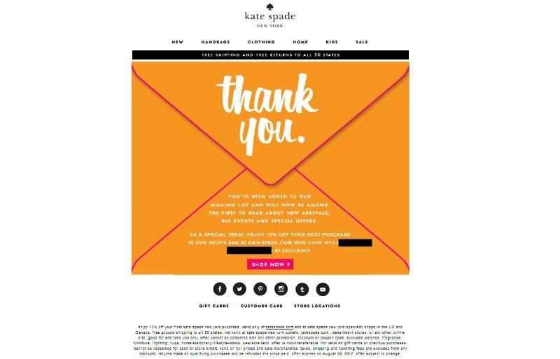 Kate Spade newsletter signup confirmation