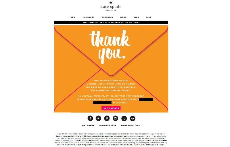 Kate Spade newsletter signup confirmation