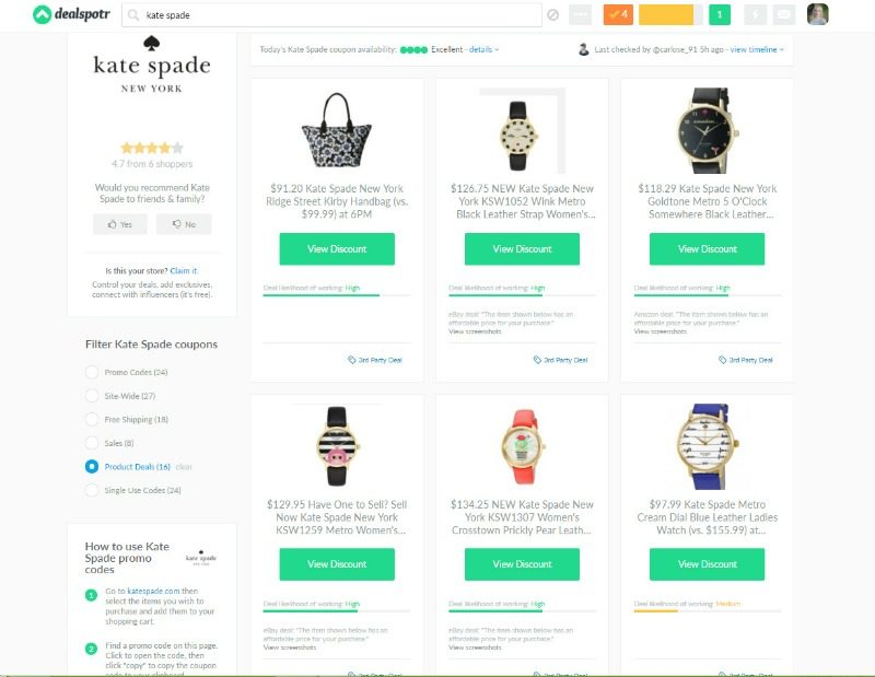 Kate Spade products deals on Dealspotr