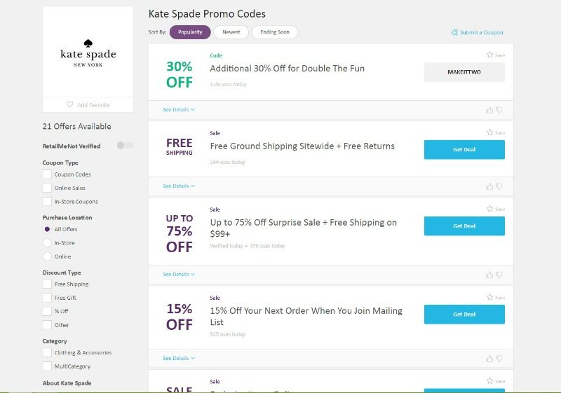 Kate Spade promo codes on RetailMeNot