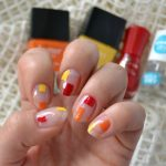 Minimalist Negative Space Block Nail Art Inspired by Fall Leaf Colour