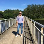 Jeans and white and purple plaid shirt & weekly link up #113