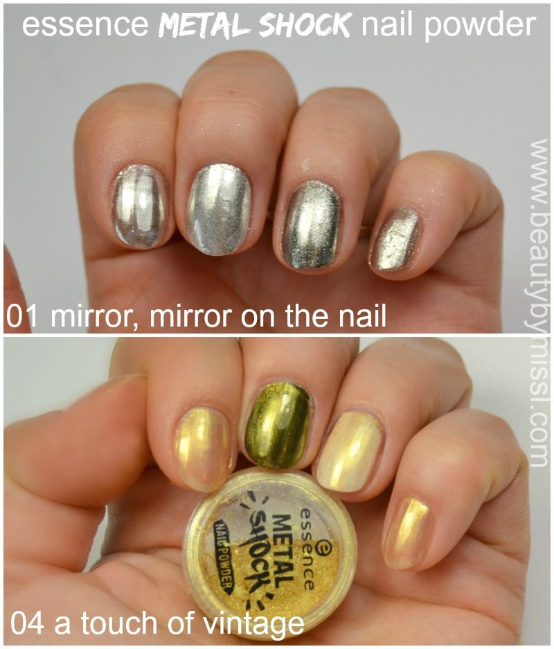 Essence Metal Shock nail powder in 01 mirror mirror on the nail. 04 a touch of vintage