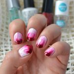Simple White and Red Smeared French Manicure