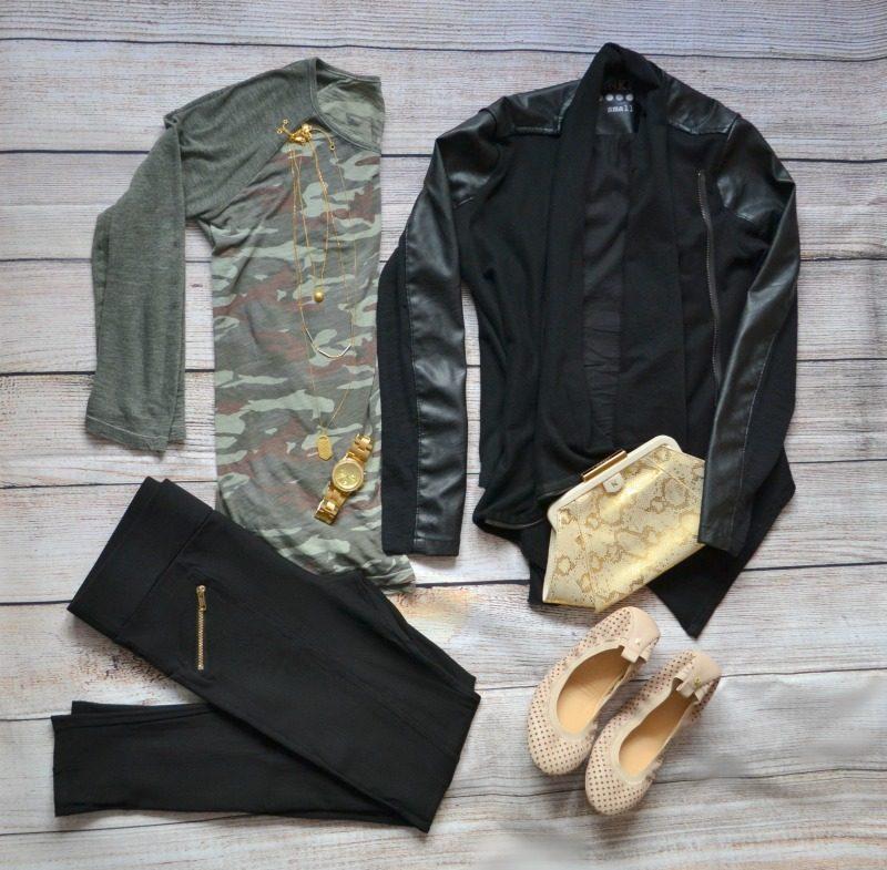 camouflage tee black vegan leather jacket black pants nude flats