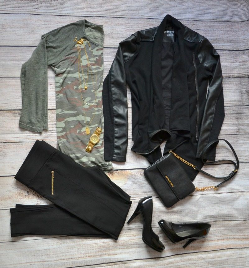 camouflage tee black vegan leather jacket black pants patent shoes