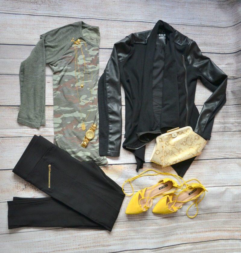 camouflage tee black vegan leather jacket black pants yellow flats