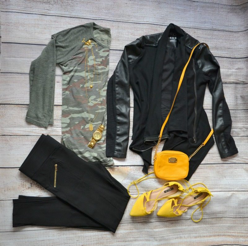 camouflage tee black vegan leather jacket black pants yellow lace up flats