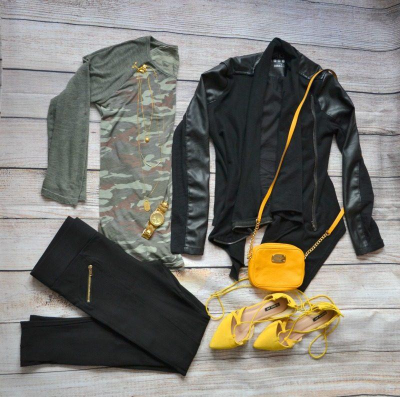 camouflage tee black vegan leather jacket black pants yellow lace up flats