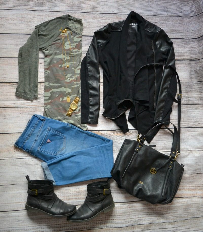 camouflage tee black vegan leather jacket blue skinny jeans boots