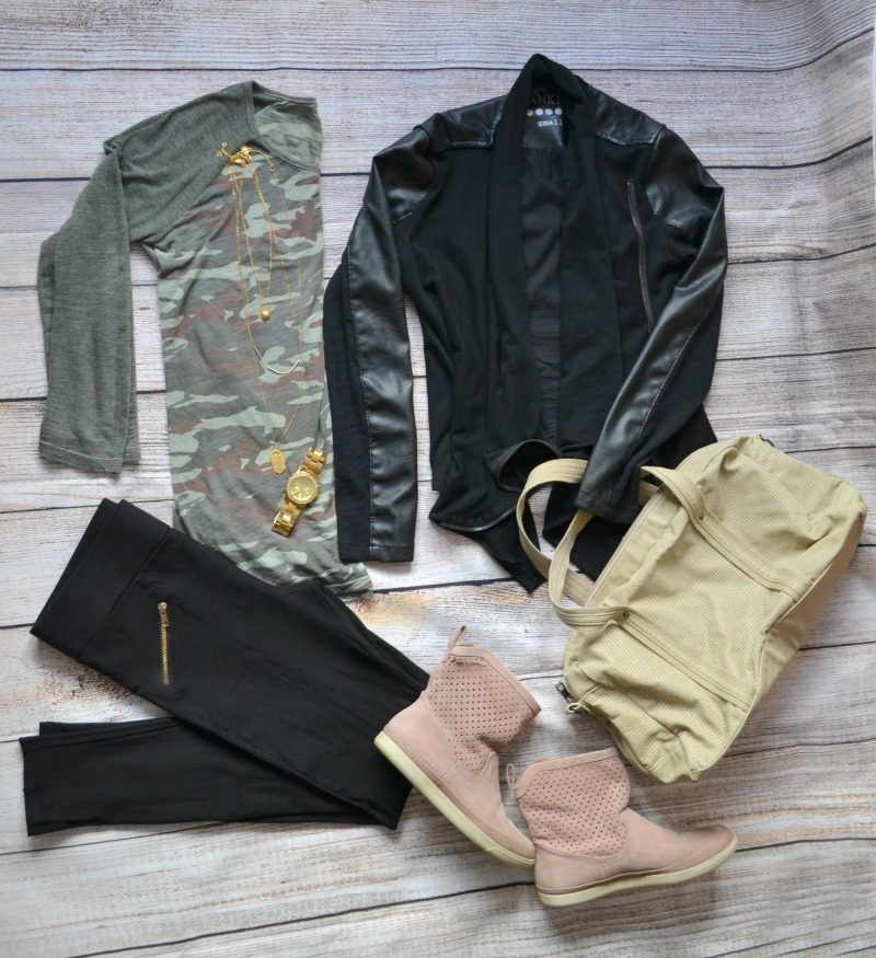 camouflage tee black vegan leather jacket boots