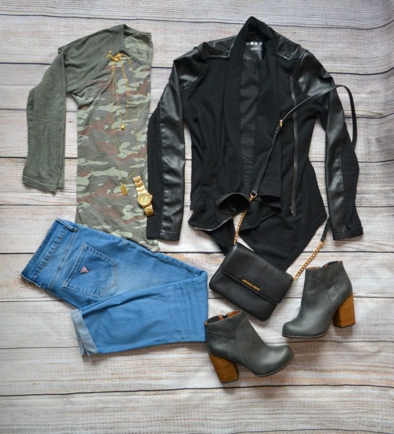 camouflage tee black vegan leather jacket skinny jeans heeled boots