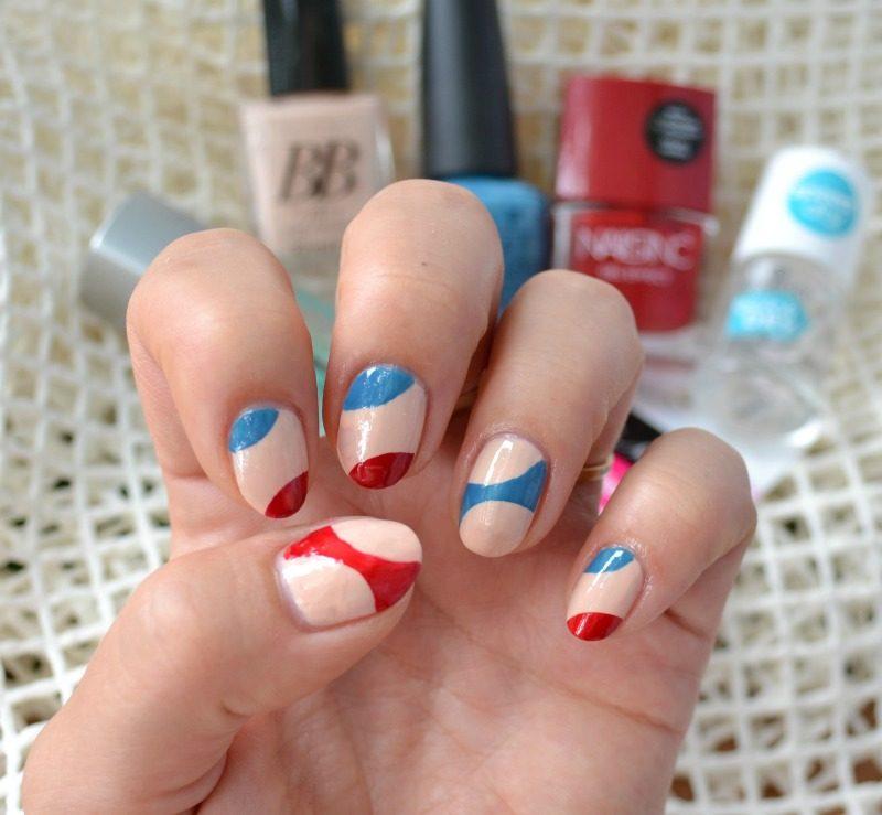 diagonal twisted half moon manicure
