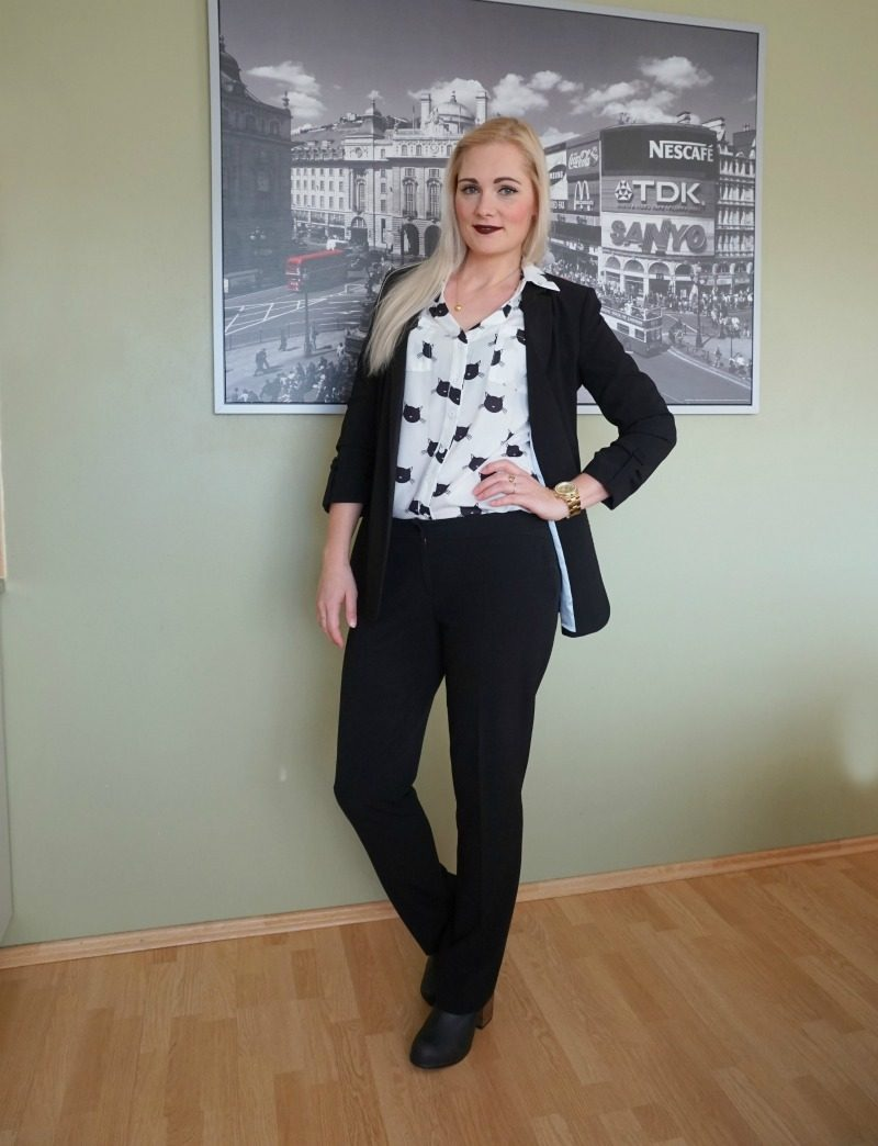 Reserved blazer, Mosaic trousers, SheIn blouse