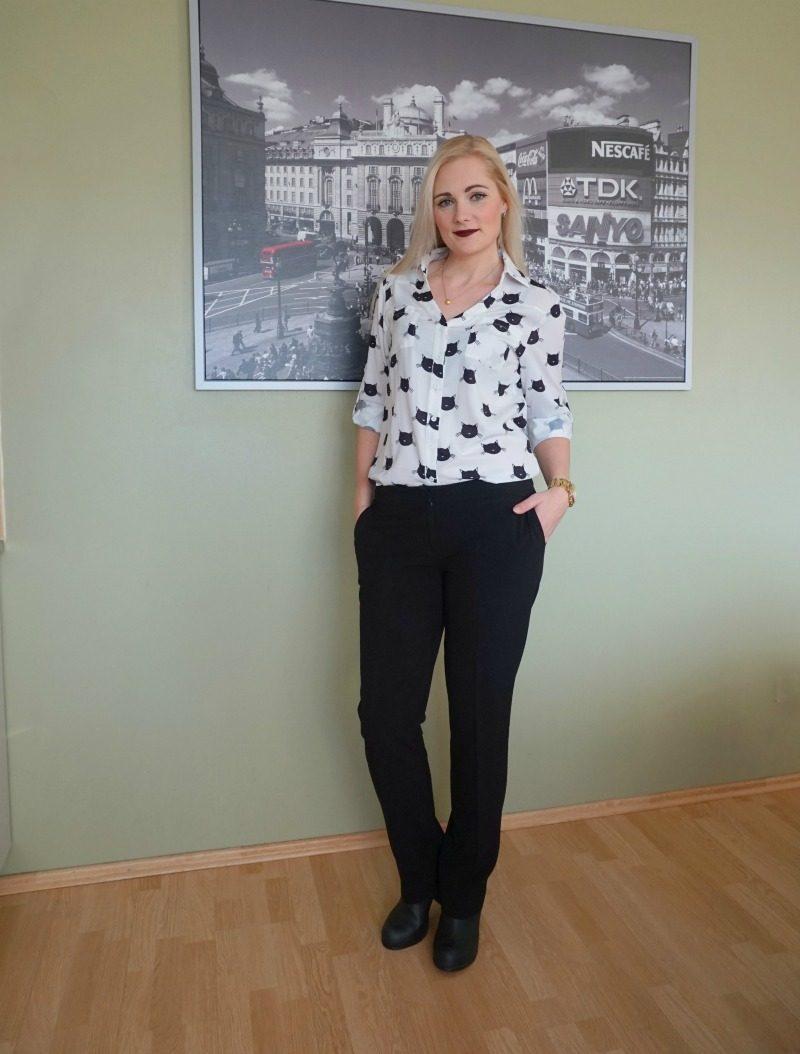 cat print blouse and dressy pants