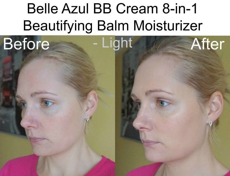 Belle Azul BB Cream 8-in-1 Beautifying Balm Moisturizer in Light before after