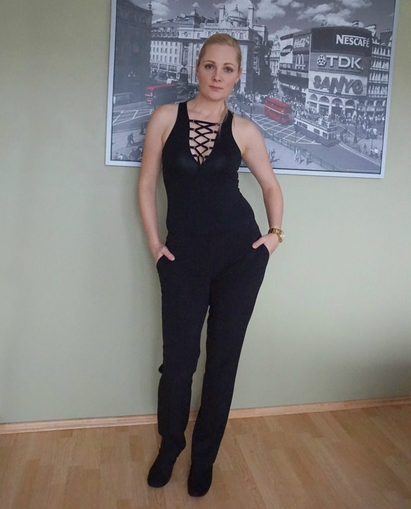 Glamorous lace up bodysuit, Mosaic trousers, New Look shoes