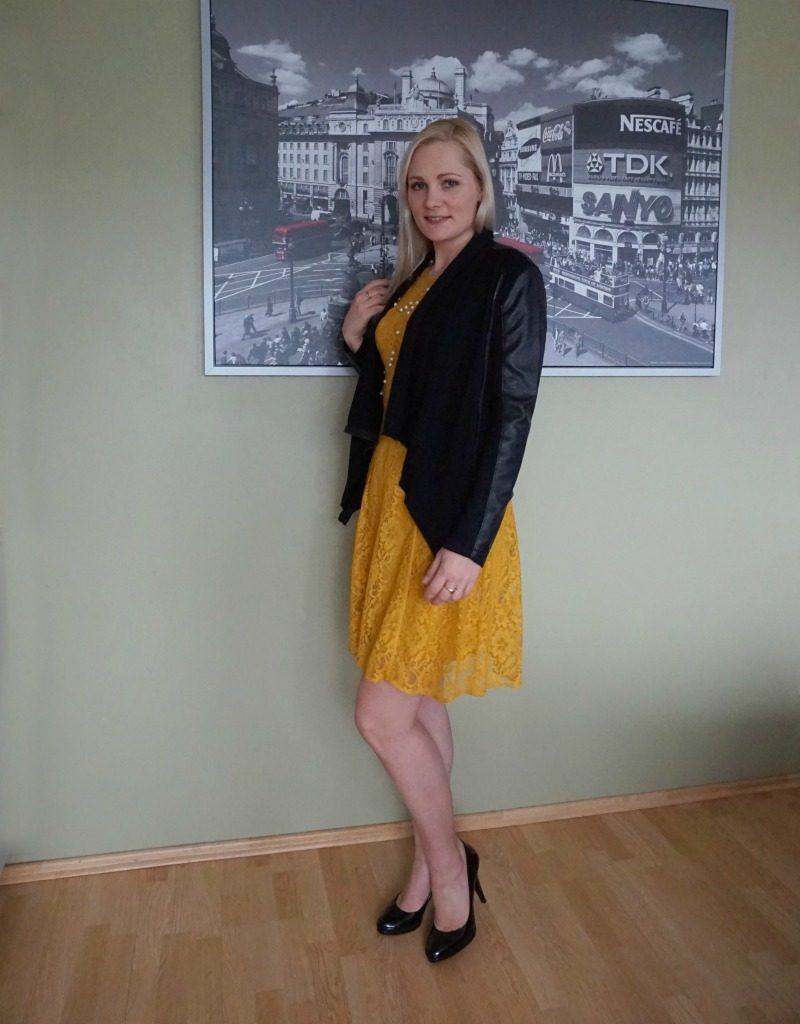 Patrizia Dini lace dress, Blank Denim jacket, Marks & Spencer patent pumps, Juliet & Company necklace