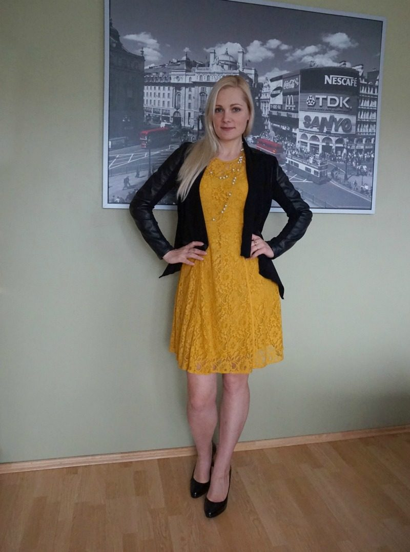 Yellow lace dress & black vegan leather jacket. Weekly link up #124