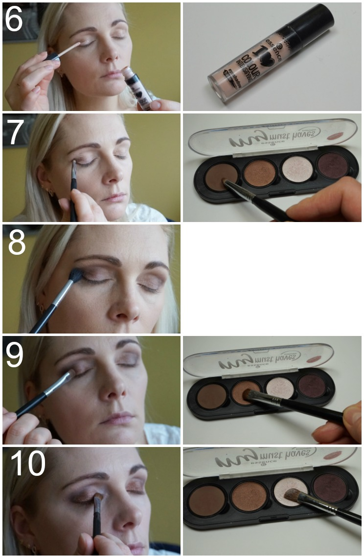 brown smoky eye with essence makeup products