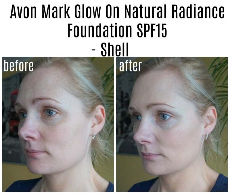 Avon Mark Glow On Natural Radiance Foundation SPF15 before after