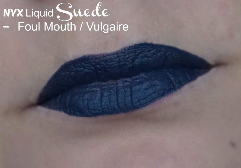 NYX Liquid Suede in shade Foul Mouth swatches
