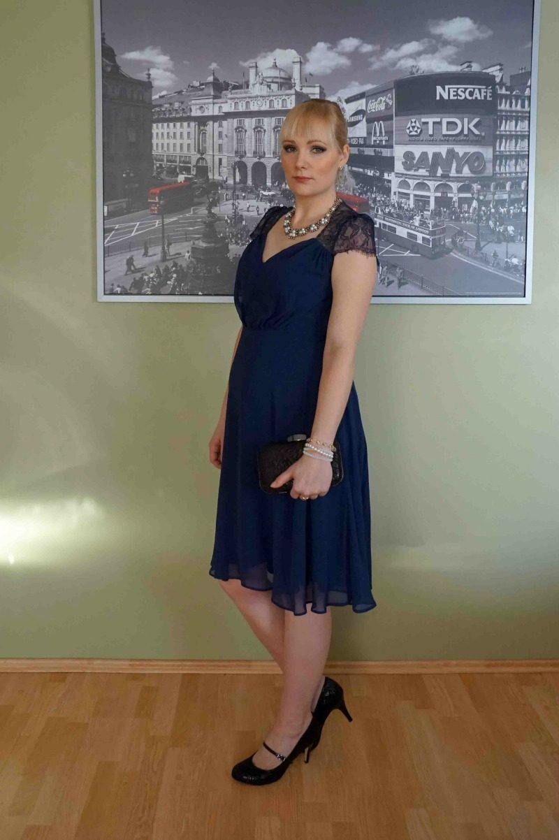 ASOS midi dress Lotus shoes. Navy blue and black outfit